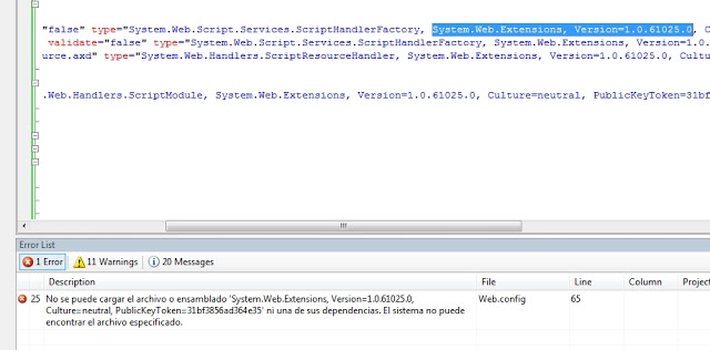 Error system.web.extensions