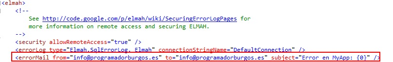 Configurar envio mail con elmah