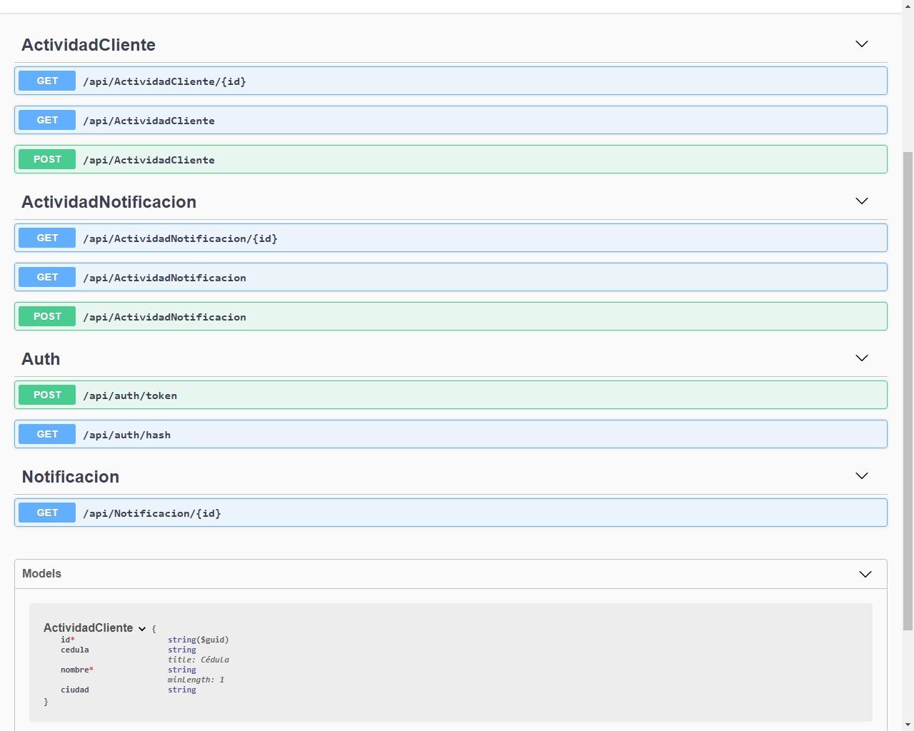 API para registrar cualquier actividad móvil